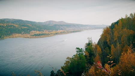 view of the river and mountains in Siberia. Stock Footage
