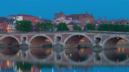 neuf : View of Toulouse in a summer night Stock Footage