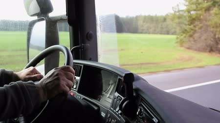 řidič : Driver hands on steering wheel control truck or lorry