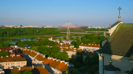 wisla : Aerial View on Warsaw City with Buldings and Wisla or Vistula River with Bridge From Above at Day