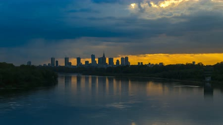 wisla : Timelapse with view on Cityscape of Warsaw City and Buildings and Wisla River with Dramatic Clouds Stock Footage