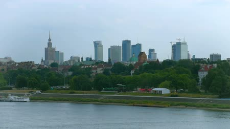 wisla : WARSAW, POLAND - 24 JUNE 2016: View on City Buildings in Center of Warsaw and Vistula or Wisla River