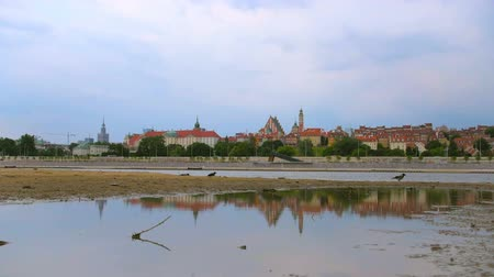 wisla : View on Warsaw Old Town from Visla river with reflection in Poland