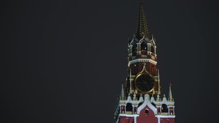 chime : Kremlin Chimes and Kremlin wall, red star, close up, night, no people Stock Footage