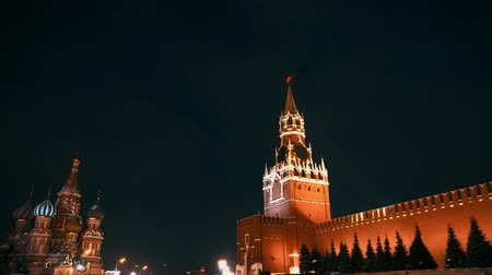 red square : Saint Basils Cathedral, Kremlin clock, Kremlin wall, panorama, night, no people