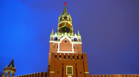 basilico : Saint Basils Cathedral, Kremlin clock, chimes, Kremlin wall, panorama, evening