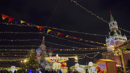 kreml : Traditional Russian fair on Red Square, winter, snowfall, holiday, pancake week