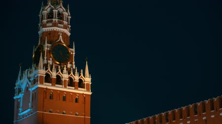 urss : Russian flag, Kremlin wall, Kremlin chimes, St Basil Cathedral, panorama evening