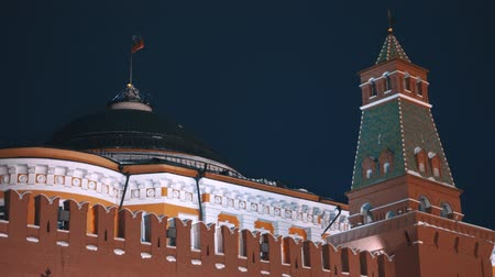 urss : Russian flag, Kremlin wall, no people, night Stock Footage