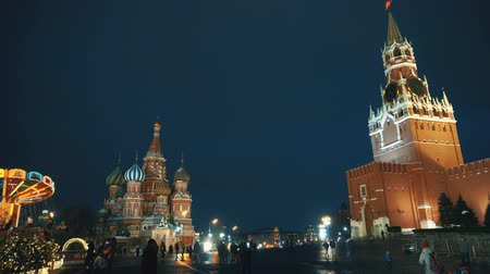 urss : Red Square Kremlin Clock Kremlin wall, Saint Basils Cathedral, traditional fair