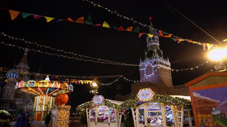 basilico : Traditional Russian fair on Red Square, winter, snowfall, holiday, pancake week