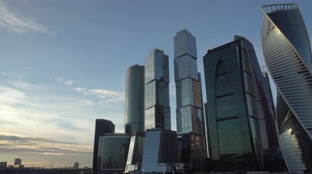 moscow panorama : Financial district. Urban landscape. Background blue sky and beautiful clouds. Stock Footage