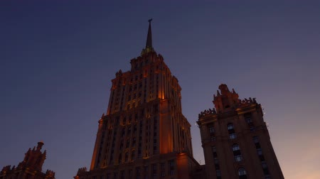 moscow panorama : Beautiful Art Deco historic building. It gets dark, the facade is highlighted