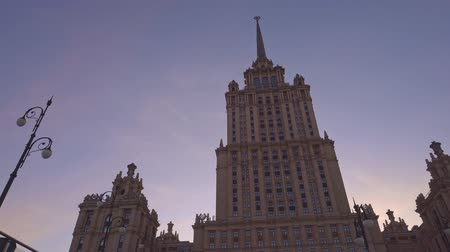 urss : Stalin skyscrapers Beautiful old building in Moscow. Smooth approach to building Stock Footage