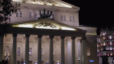 bevésett : Bolshoi Theater, Moscow. Built in 1776. Facade, stucco molding and statues. 4K Stock mozgókép