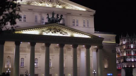 Bolshoi Theater, Moscow. Built in 1776. Facade, stucco molding and statues. 4K Vidéos Libres De Droits