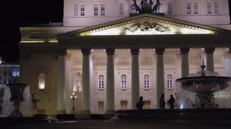 Beautiful vintage facade of Bolshoi Theater, Moscow. built in 1776. Nighttime 4K Vidéos Libres De Droits
