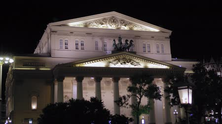 Beautiful vintage facade of the Bolshoi Theater Moscow. Was built in 1776. 4K