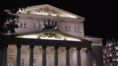 bevésett : Beautiful vintage facade of the Bolshoi Theater Moscow. Was built in 1776. 4K