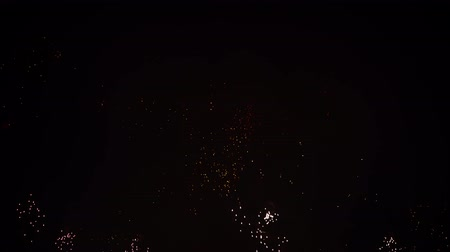 fireworks : Magnificent, red, silver and gold color of dazzling fireworks, in the night sky