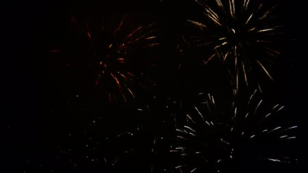 čtvrtý : Beautiful, magnificent, red blue silver and gold color of dazzling fireworks. 4K