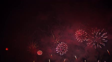 firecracker : Beautiful, magnificent, red and gold color real dazzling fireworks. 4K footage