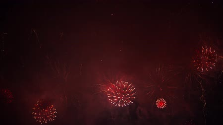 čtvrtý : Beautiful, magnificent, red and gold color real dazzling fireworks. 4K footage
