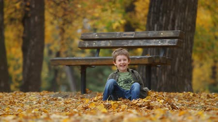 bank : Running seven year old boy throws autumn leaves and falls to the ground Stok Video