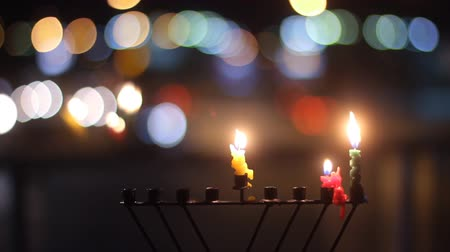 ruhanilik : Beautiful candles and hanukkah menorah with defocus background