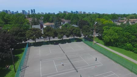 Aerial shot over tennis court