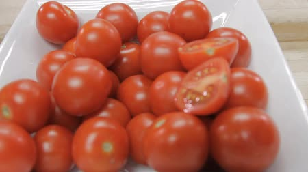 Fresh Cherry tomatoes juicy Стоковые видеозаписи