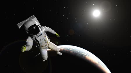 gravidade : Animation of the astronaut against the Earth Vídeos