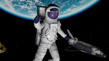 astronauta : Animation of the astronaut against the Earth and the spaceship