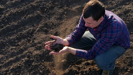fertile : Farmer take a sample of the black fertile soil. Farmer handful of fertile soil standing in cultivated field. Soil, Agriculture, - Farmer hands holding and pouring back organic soil.