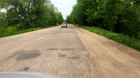 eyaletler arası : Driving a Car on a Country Road. POV, point of view front, day.