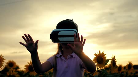 goggles : Little girl in virtual reality goggles in the sunflower field on sunset. Child looking at virtual reality glasses at sun. Stock Footage