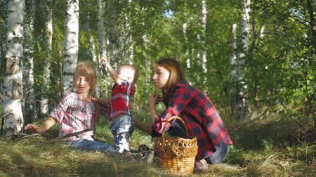 gombák : Mother with kids going on mushrooms picking in forest.