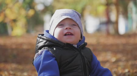 parky : Little baby boy sitting on grass and fallen leaves in park on bright and sunny early autumn day looking at yellow leaf in hand and smiling. Happy baby boy throws autumn leaves and laughs outdoors.