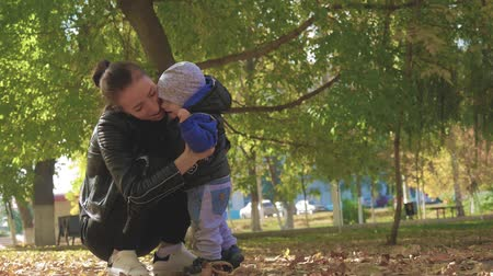 október : Mother circling a little son in an autumn park. Happy family in autumn park. Happy family in nature concept in slow motion. Stock mozgókép