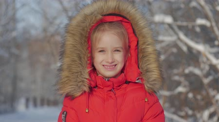 geada : Funny little girl having fun in beautiful winter park. Winter portrait of adorable small girl looks into the camera.