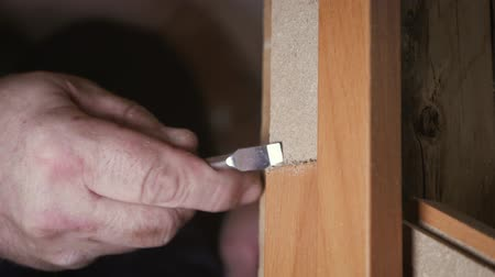 cabinetry : Close-up carpenter process of wood door hinge installation. Door hinge installation.