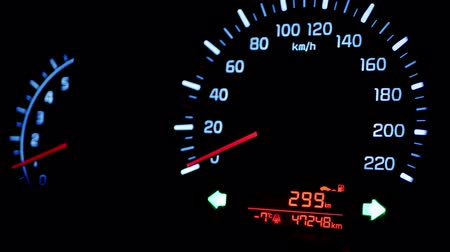 kilometer : Dashboard in the car, flashing alarm. Stock Footage