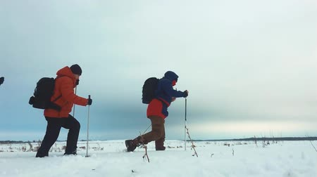 отдыха : Three tourist hikers with trekking poles, a backpack and snowshoes. Happy hikers group walking through in winter trip. Extreme sport, recreation. Teamwork concept. Стоковые видеозаписи