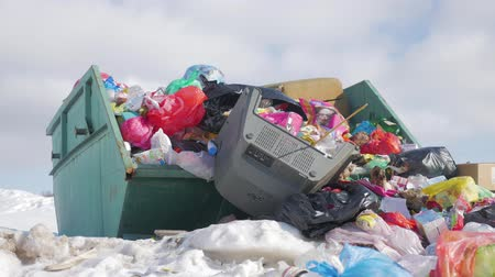 guba : Garbage is pile lots dump, many garbage plastic bags black waste at walkway community village, bags bin of plastic waste, garbage waste lots junk dump. Stock mozgókép