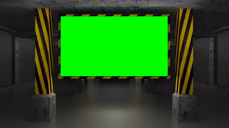 garagem : Full HD 3d animation screen in the garage (green screen, alpha) Vídeos