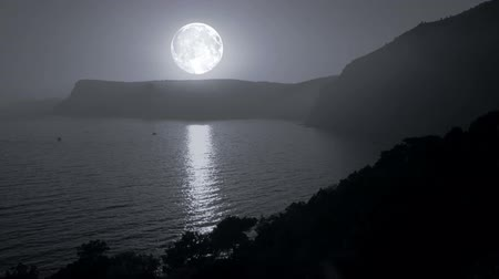 mehtap : Big moon illuminates the mountains and the sea Stok Video
