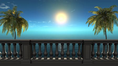erkély : 3d balcony near sea under deep blue sky,palm