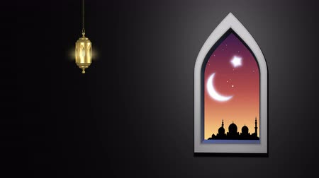 pozdrav : Ramadan Kareem islamic background.  Moonrise over the mosque and the light of the stars.