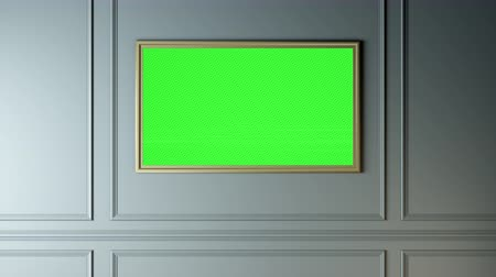 klucz : The wall with a picture of a TV, green screen alpha