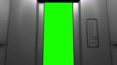 Modern elevator in the business center, alpha channel, green screen